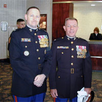(Left) Colonel Hasty (SSgt NCOIC Can Tho Detachment) Last on Active Duty, (Right) Colonel Hurley (CO MSG Battalion)